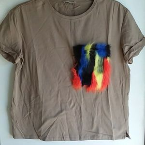 New! Med  ZARA Trafaluc Faux Fur Pocket T - Shir
